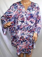 Southern Lady Women Plus Size 2x 3x Red Blue White Tunic Top Blouse Shirt