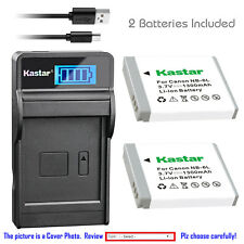 Kastar Battery LCD Charger for Canon NB-6L NB-6LH CB-2LY Canon IXUS 85 IS Camera