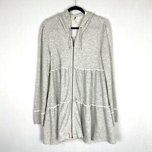 Free People Womens Tiered Trapeze Hoodie Hooded Sweatshirt Medium Gray Zippered
