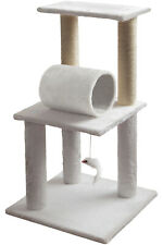 """33"""" Cat Tree Play Tower Bed Gym White Pet Furniture Scratch Post Tunnel Toy Bird"""