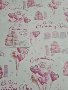Gift Wrap 2x Thick On Your Christening Day Female & 1 Gift Tag 50x70cm