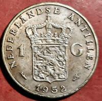 Antillas Holandesas 1 Gulden 1952 Plata @ Bella @
