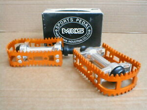 NOS BMX MKS BM 10 GOLD 1/2 INCH AXLE PEDALS BOXED EARLY 80's NEW OLD STOCK