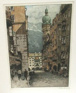 COLNBERG GERMAN PEOPLE STREET SCENE LIMITED EDITION HAND SIGNED COLOR ETCHING
