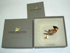 DANIEL SWAROVSKI Paris Paradise Bird Crystal Sterling Pin Brooch Swan Signed NIB