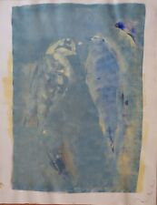 AVIARY original painting on paper CLASSICAL style vintage birds sky flight ART