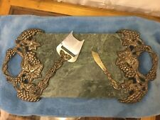 SET of 3: GODINGER Silver Art Green Marble Silverplated Grape Handles Tray &tool