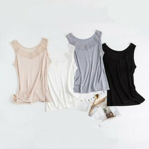 Women's 50% Silk Lace Camisole Tank Top Vest Shirt sleeveless M L XL 2XL TG108