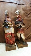 Folk Paper Mache African American Figures/dolls man/lady pig/bowl home display
