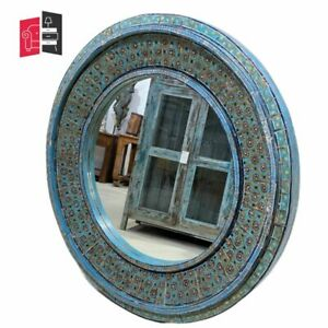 Pandora Hand Painted Indian Solid Wood Round Mirror Frame (MADE TO ORDER)