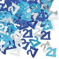 Happy Birthday Zahl 13 im blauen und silbernen Farben Glitzerkonfetti