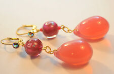 Vintage Raw Brass Earrings Art Nouveau Rose Opal Czech Glass Handmade