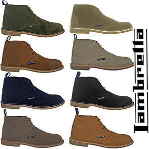 Lambretta Desert Ankle Boots Leather Mens Carnaby 3 Eye Lace Suede Round Toe