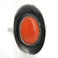 Vintage Art Deco Korallen Ring oval 835er Silber Gr. 53
