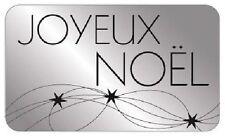 15 Etiquettes autocollantes stickers cadeaux  JOYEUX NOEL Argent - Ref ROM7