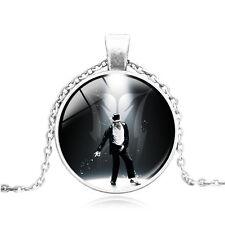 New Vintage Cabochon Tibetan Silver Glass Michael Jackson Pendant Necklace #400