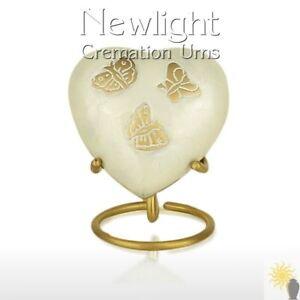 Pearl Butterfly (3inch Heart), Keepsake Urns, Heart Keepsakes, Mini Urns