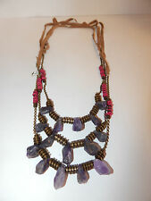 FREE PEOPLE NECKLACE JEWELRY GENUINE QUARTZ PURPLE STONE BEAD RAWHIDE 3 PCS