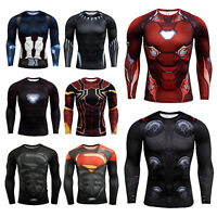 Men's Superhero Avengers Compression T-Shirt Long Sleeve Jersey Running Cool Dry