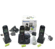 Panasonic Cordless Telephones with 3 Handsets With  Answering Machine Black