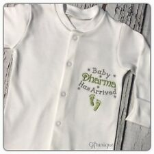 PERSONALISED Baby Grow Embroidered SLEEPSUIT Baby Has arrived Boy Girl Unisex