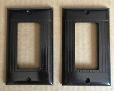 MCM Deco Ribbed Brown Bakelite Rocker Electric Light Switch Wall Plate Sierra 2