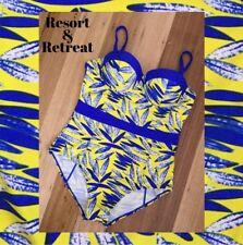 Ladies One Piece Swimwear, Size 18DD, Underwire, New, Blue/Yellow, Plus Size