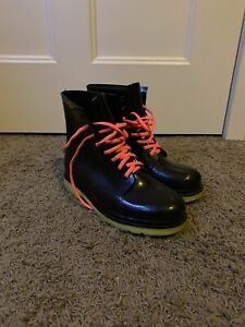 Unbranded Black Rubber Rain Combat Boots Size 10/41 Highlighter Sole Pink Laces