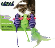 OUR PETS GO CAT GO TWIN MICE FEATHER 3 PACK INTERACTIVE FREE SHIP IN USA ONLY