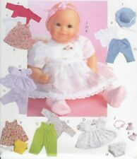 PATTERN to sew Baby doll clothes dress hat McCalls 4338 11-16in fits Bitty dolls