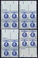 (4) PLATE BLOCKS of 4 #1147 MASARYK CHAMPION OF LIBERTY 4c