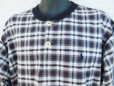 POLO RALPH LAUREN Vtg 1980s Men's Henley Style Pullover Shirt Large Plaid USA