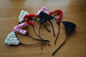 Cute Girls Or Womens Flower Rose Cat Ears Hair Head Band. Dress Up Two Designs.
