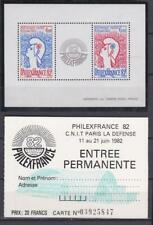 F742  - FRANCE STAMPS 1982 PHILEXFRANCE SS  WITH TICKET  MNH
