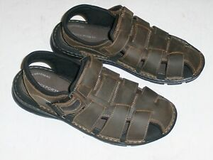 Rockport Brown Leather Men's Darwyn Outdoor Casual Fishermen Sandals Size 10.5 M