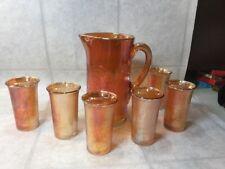 Vtg Jeanette Tree Bark Carnival Glass Pitcher w/Six Glasses