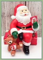 🔴 Vintage Plastic Santa Claus Reading Book Holding Teddy Bear Shelf Sitter Xmas
