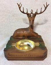 Vintage Rustic Cabin Lodge Deer Buck Stag Wood Carved German Ashtray