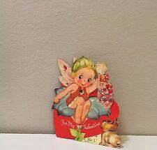 Vtg Valentine Card Twelvetrees? Mechanical Flower Garden Fairy Dog Love & Kisses