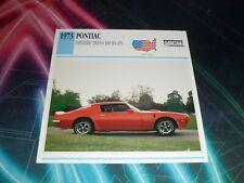 1973 PONTIAC FIREBIRD TRANS AM SD-455 Car Photo Spec Sheet Stat Info CARD