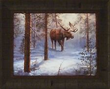 NORTH COUNTRY by Jim Hansel 17x21 FRAMED PRINT PICTURE Moose Snow Winter Snowing