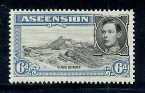 ASCENSION 45 SG43 MH 1938-53 6p blue KGVI Three Sisters Perf 13&1/2 Cat$7