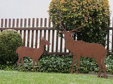 SET Edelrost Hirsch XL 105 cm und  Reh Jäger Rentier Rost Tiere Weihnachtsdeko