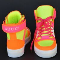 GUCCI New sz 39.5 G - US 10 Authentic Womens GG Logo Shoes High Top Sneakers