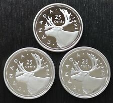 *** CANADA  LOT  OF  THREE  ***  25  CENTS  PROOF  CAMEO  *** 1993-1994-1995 ***