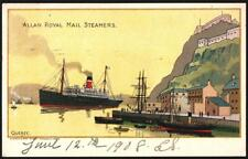 ALLAN ROYAL MAIL STEAMERS ART TYPE. USED 1908 QUEBEC. OLD POSTCARD.