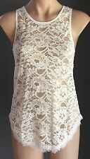 Lovely POSH PARIS Stretchy White Lace Racer Back Sleeveless Top Size S/8