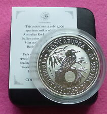 1993  KOOKABURRA 2oz EMU PRIVY MARK  SILVER PROOF $2 COIN BOX AND COA