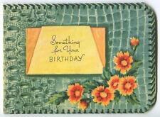 VINTAGE FAUX TEAL ALLIGATOR SKIN WALLET ORANGE DAISIES BIRTHDAY GREETING CARD