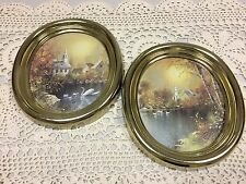 Vintage 1985 Homco Swans In Pond Near Church Gold Oval Framed Picture Set 6 X 8